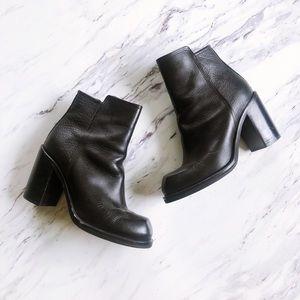Alexander McQueen Black Leather Booties